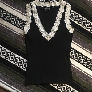 Bebe Black and White Lace Trim V Neck Top Cute- XS